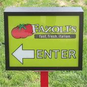 Fazoli's exterior directional signs