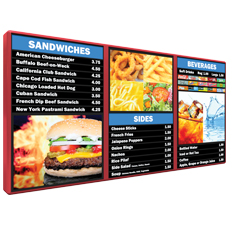 multi panel interior illuminated menu boards