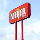 Meijer Grocery Store High Rise sign