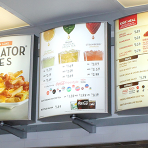Wendy's interior menu boards